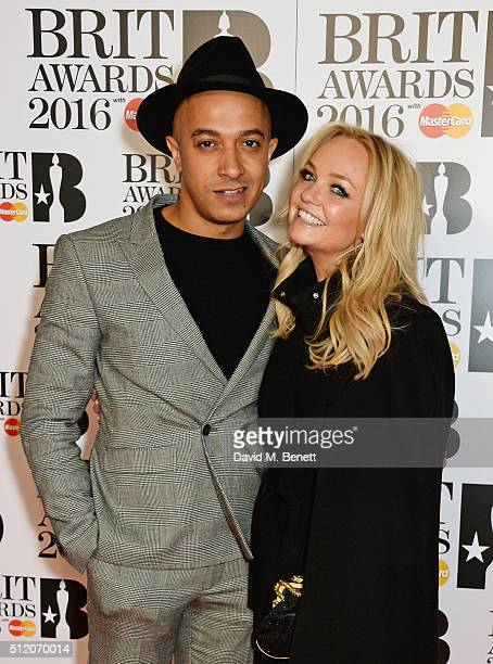 Jade Jones and Emma Bunton arrive the BRIT Awards 2016 at The O2 Arena on February 24, 2016 in London, England.
