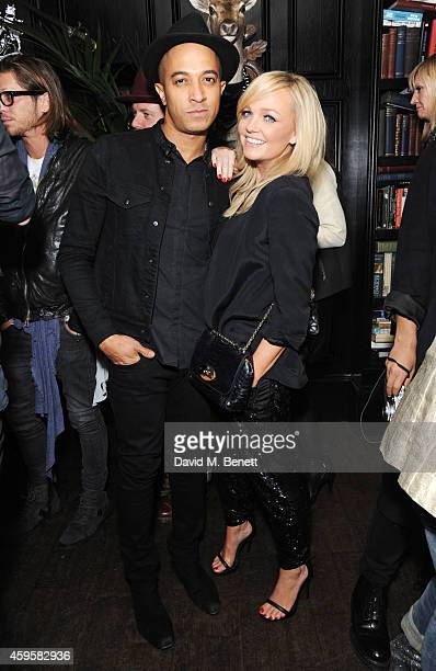 Jade Jones and Emma Bunton attend the launch of the Rockins For Eyeko collection at The Scotch of St James on November 25, 2014 in London, England.