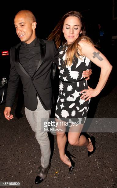Jade Jones and Melanie Chisholm are seen leaving the Arts Club, Mayfair on April 27, 2014 in London, England.