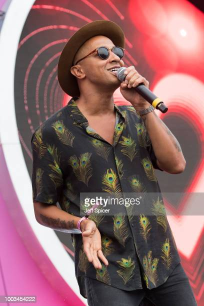 Jade Jones from Damage performs during Kisstory On The Common 2018 at Streatham Common on July 21, 2018 in London, England.