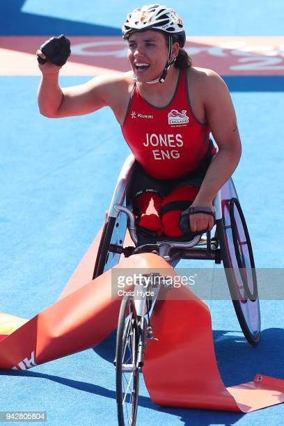 Jade Jones of England celebrates winning the Triathlon Women's PTWC Final on day three of the Gold Coast 2018 Commonwealth Games at Southport...