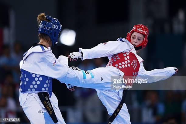 Jade Jones of Great Britain and Ana Zaninovic of Croatia compete during the Women's Taekwondo 57kg on day five of the Baku 2015 European Games at the...