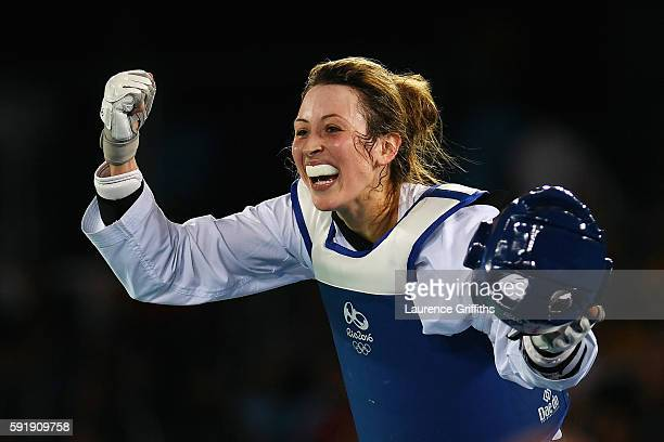 Jade Jones of Great Britain celebrates after defeating Eva Calvo Gomez of Spain during the Women's -57kg Gold Medal Taekwondo contest at the Carioca...