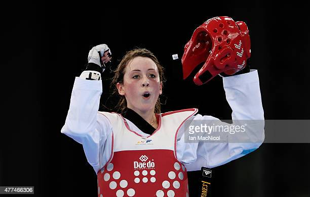 Jade Jones of Great Britain celebrates victory over Ana Zaninovic of Croatia in the final of the Women's 57kg during day five of the Baku 2015...
