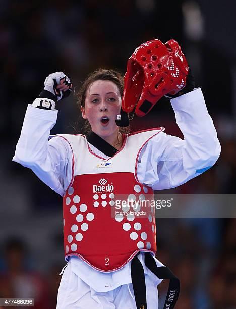 Jade Jones of Great Britain celebrates winning gold against Ana Zaninovic of Croatia during the Women's Taekwondo 57kg gold final on day five of the...