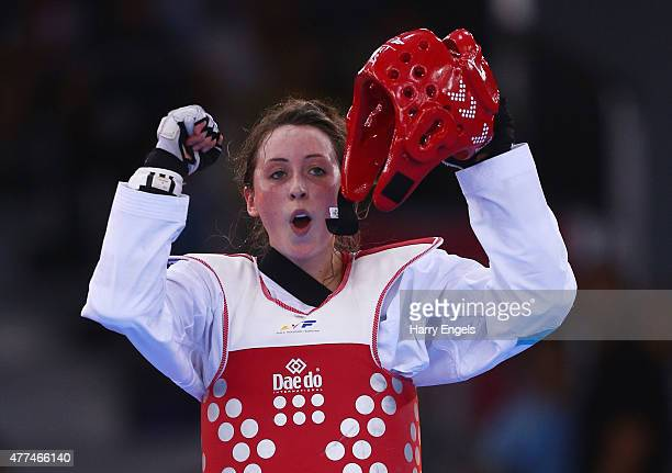 Jade Jones of Great Britain celebrates winning gold against Ana Zaninovic of Croatia during the Women's Taekwondo 57kg gold final on day five of the...