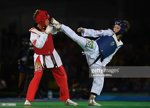 Jade Jones of Great Britain competes against Naima Bakkal of Morocco during the Womens 57kg Taekwondo contest at Cairoca Arena 3 on August 18 2016 in...