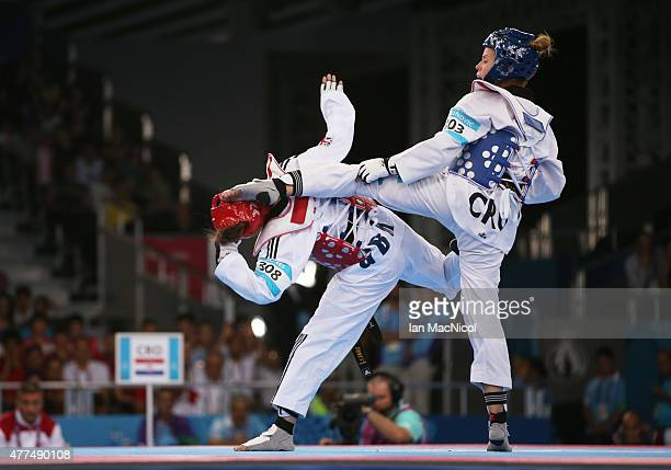 Jade Jones of Great Britain competes with Ana Zaninovic of Croatia in the final of the Women's 57kg during day five of the Baku 2015 European Games...