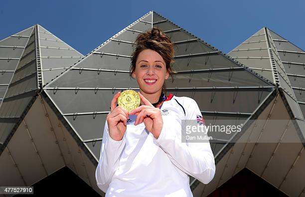 Jade Jones of Great Britain poses with her gold medal after winning the Women's Taekwondo 57kg Final at Crystal Hall on June 18 2015 in Baku...