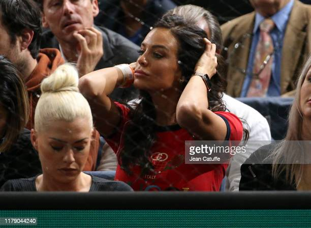 Jade Lagardere wife of Arnaud Lagardere watches Benoit Paire of France during his second round match defeat to Gael Monfils of France at the Rolex...