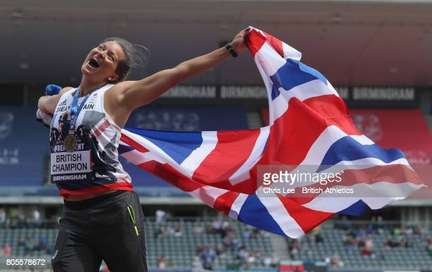 Jade Lally of Great Britain celebrates winning the Womens Discus Throw on the podium during Day Two of the British Athletics World Championships Team...