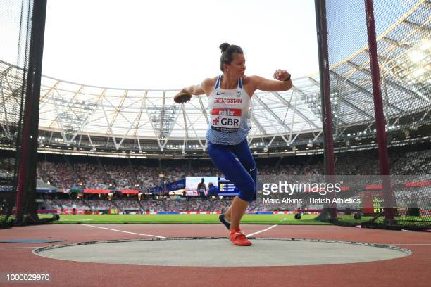 Jade Lally of Great Britain competes in the women's discus during Day Two of the Athletics World Cup 2018 at London Stadium on July 15, 2018 in...