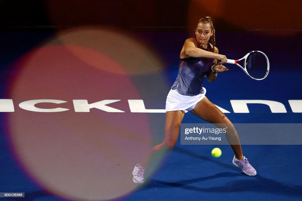 Jade Lewis of New Zealand plays a forehand in her match against Viktoria Kuzmova of Slovakia during day two of the ASB Women's Classic at ASB Tennis Centre on January 2, 2018 in Auckland, New Zealand.