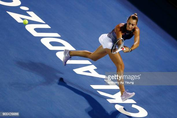 Jade Lewis of New Zealand plays a shot in her match against Viktoria Kuzmova of Slovakia during day two of the ASB Women's Classic at ASB Tennis...
