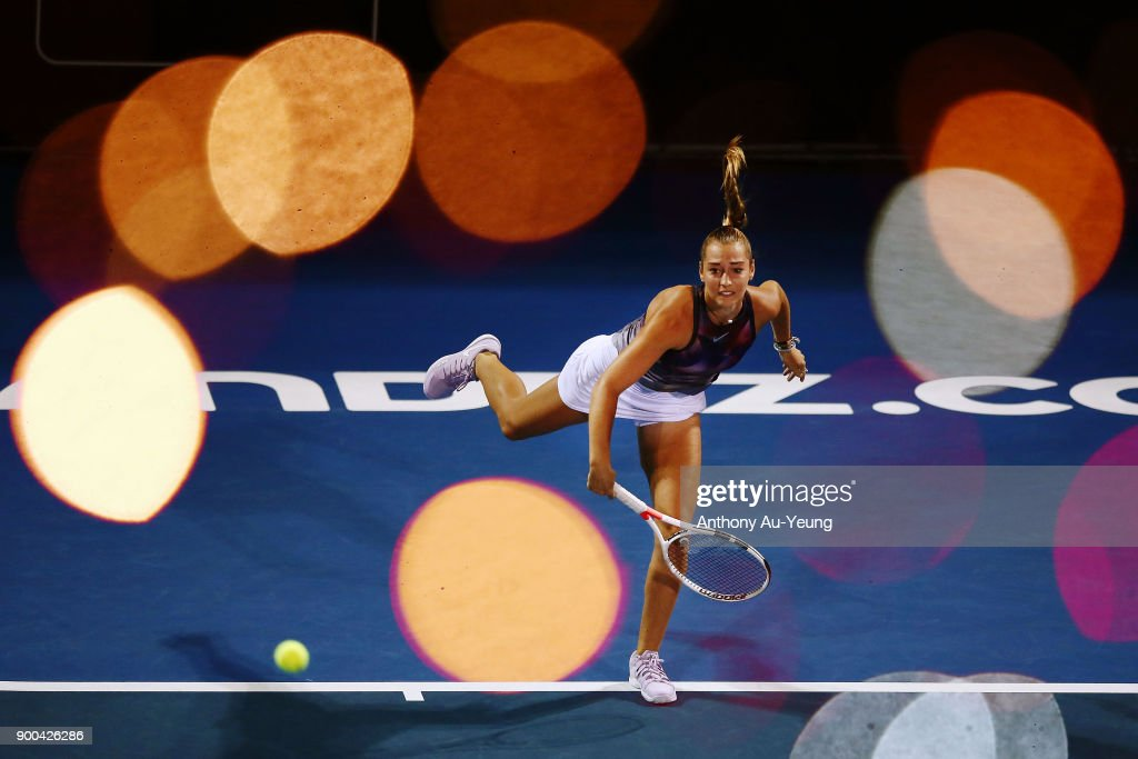Jade Lewis of New Zealand serves in her match against Viktoria Kuzmova of Slovakia during day two of the ASB Women's Classic at ASB Tennis Centre on January 2, 2018 in Auckland, New Zealand.