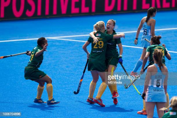 Jade Mayne of South Africa celebrates scoring the opening goal during the Pool C game between Argentina and South Africa of the FIH Womens Hockey...