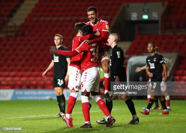 Jade Mingi of Charlton Athletic celebrates scoring his team's second goal during the EFL Trophy match between Charlton Athletic and Leyton Orient at...