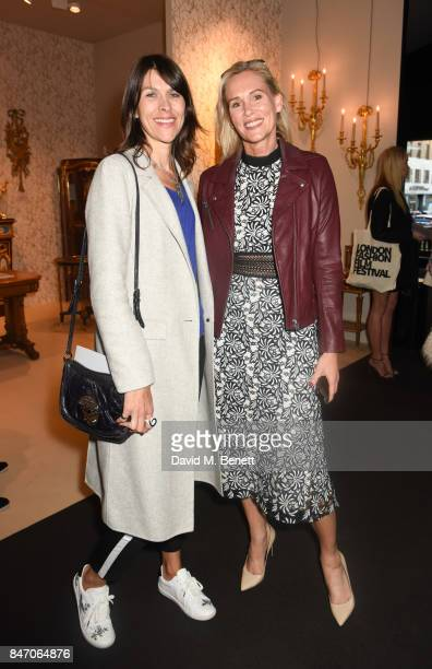 Jade Mitchell and Tia Graham attend the Private View of LAPADA Art Antiques Fair at Berkeley Square Gardens on September 14 2017 in London England