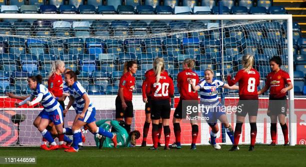LR Jade Moore of Reading FC Women Remi Allen of Reading FC Women and Rachel Honnudottir of Reading celebrate winning goal scored by Lauren Bruton of...