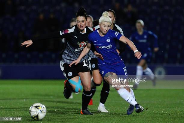 Jade Moore of Reading Women and Bethany England of Chelsea Women challenge for the ball during the Chelsea Women v Reading Women FA Continental Tyres...