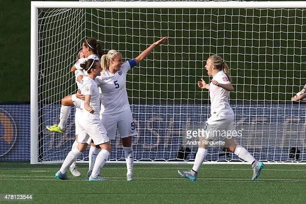 Jade Moore Steph Houghton and Laura Bassett of England celebrate their win after the FIFA Women's World Cup Canada 2015 round of 16 match between...