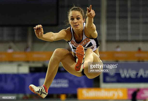 Jade Nimmo of Scotland competes in the Long Jump event at the British Athletics Glasgow International match at The Emirates Arena in Glasgow on...