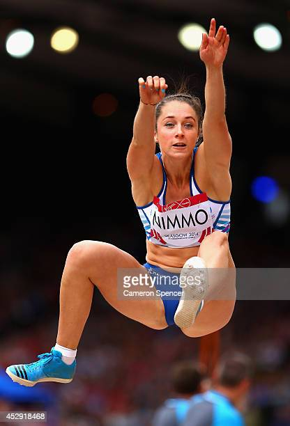 Jade Nimmo of Scotland competes in the Women's Long Jump qualification at Hampden Park during day seven of the Glasgow 2014 Commonwealth Games on...