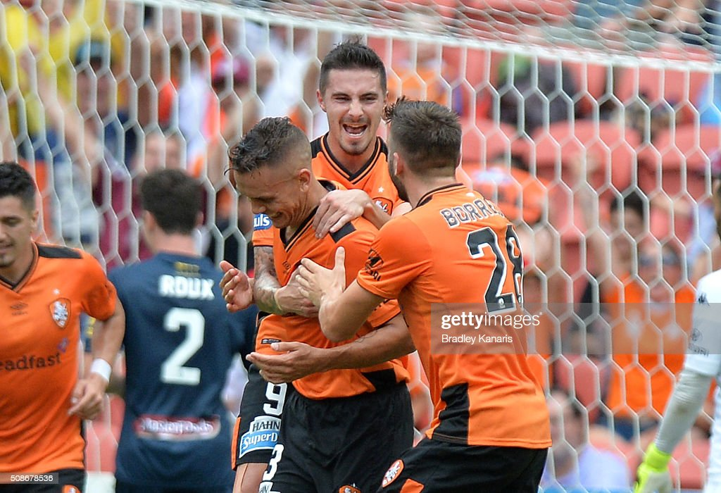 Jade North of the Roar is congratulated by team mates after scoring a goal during the round 18 A-League match between the Brisbane Roar and Central Coast Mariners at Suncorp Stadium on February 6, 2016 in Brisbane, Australia.