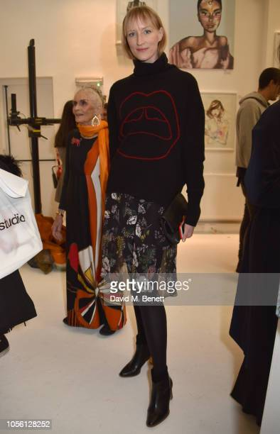 Jade Parfitt attends a private view of '100 Women' an exhibition of fashion illustration to celebrate the centenary of women's suffrage at SHOWstudio...