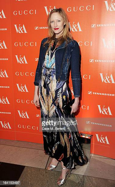Jade Parfitt attends the private view for the 'David Bowie Is' exhibition in partnership with Gucci and Sennheiser at the Victoria and Albert Museum...