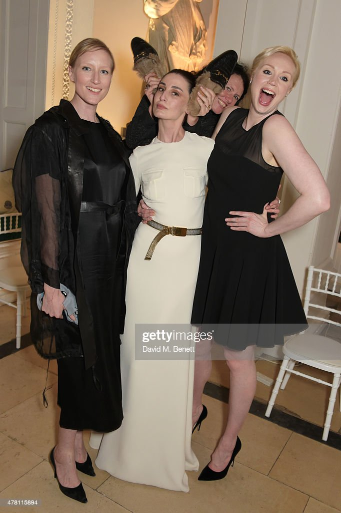 Jade Parfitt, Erin O'Connor, Katie Grand and Gwendoline Christie attend The Ralph Lauren & Vogue Wimbledon Summer Cocktail Party hosted by Alexandra Shulman and Boris Becker at The Orangery at Kensington Palace on June 22, 2015 in London, England.