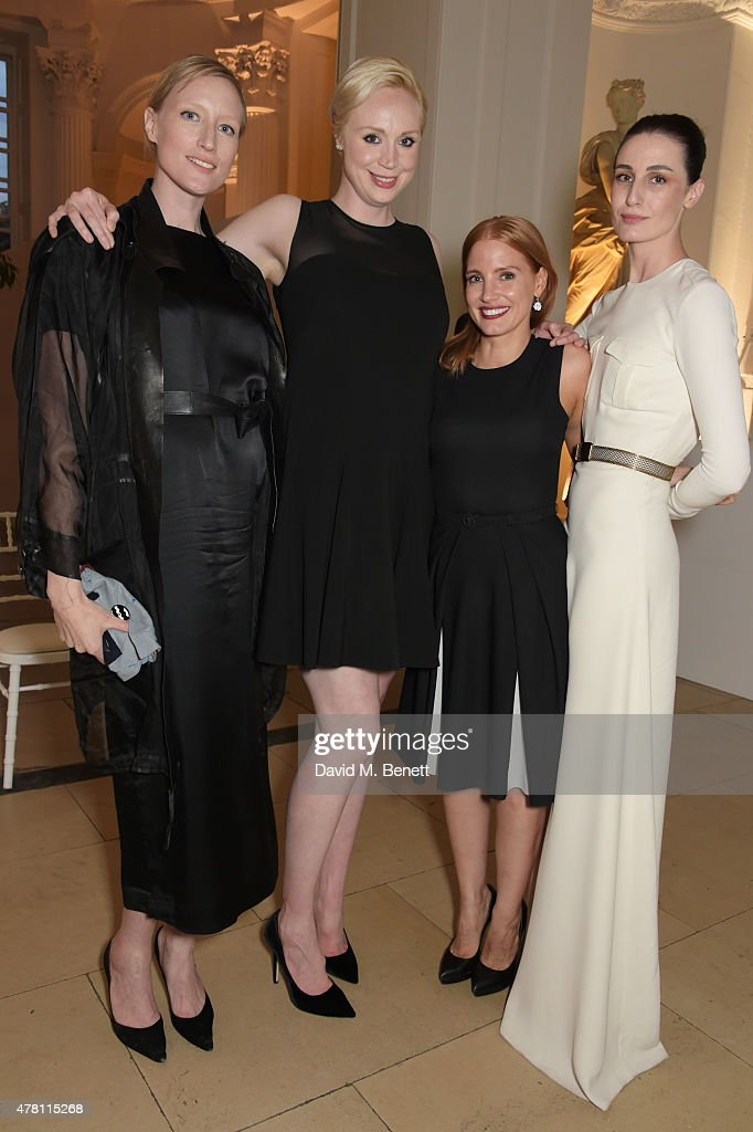 Jade Parfitt, Gwendoline Christie, Jessica Chastain and Erin O'Connor attend The Ralph Lauren & Vogue Wimbledon Summer Cocktail Party hosted by Alexandra Shulman and Boris Becker at The Orangery at Kensington Palace on June 22, 2015 in London, England.