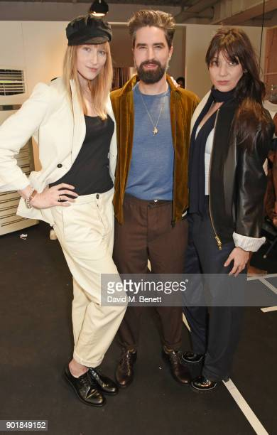 Jade Parfitt Jack Guinness and Daisy Lowe pose backstage at the Oliver Spencer LFWM AW18 Catwalk Show at the BFC Show Space on January 6 2018 in...