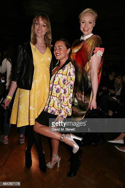 Jade Parfitt Jaime Winstone and Gwendolyn Christie attends the GILES show during London Fashion Week Fall/Winter 2015/16 at Central Saint Martins on...