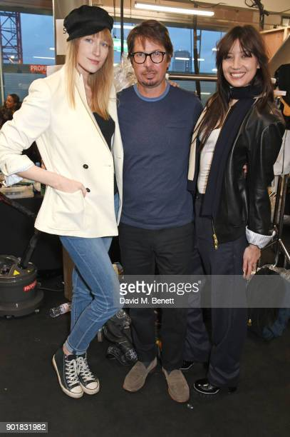 Jade Parfitt Oliver Spencer and Daisy Lowe pose backstage at the Oliver Spencer LFWM AW18 Catwalk Show at the BFC Show Space on January 6 2018 in...
