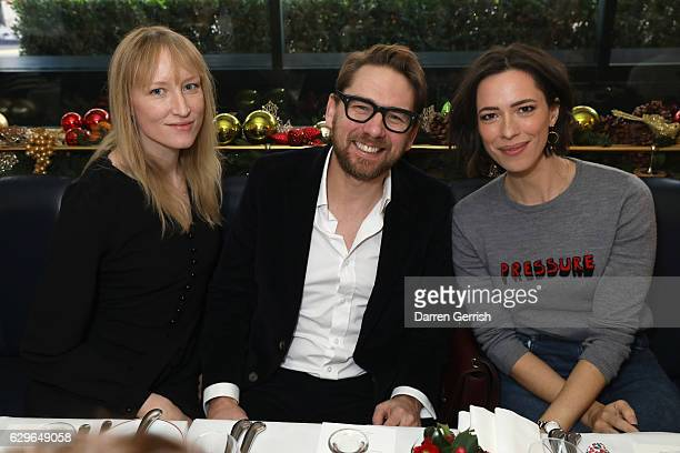 Jade Parfitt Rupert Sanderson and Rebecca Hall attend the Rupert Sanderson festive Christmas Lunch at Bruton Place on December 14 2016 in London...