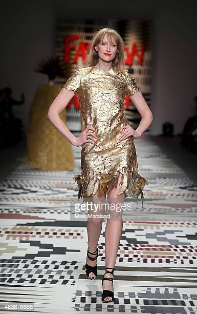 Jade Parfitt walks the runway at the Fashion For Relief charity fashion show to kick off London Fashion Week Fall/Winter 2015/16 at Somerset House on...