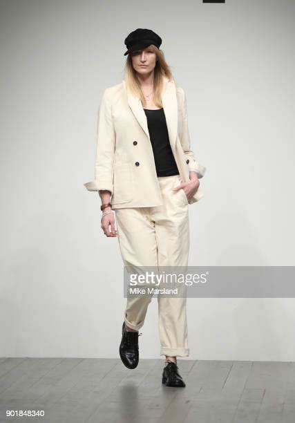 Jade Parfitt walks the runway at the Oliver Spencer show during London Fashion Week Men's January 2018 at BFC Show Space on January 6 2018 in London...