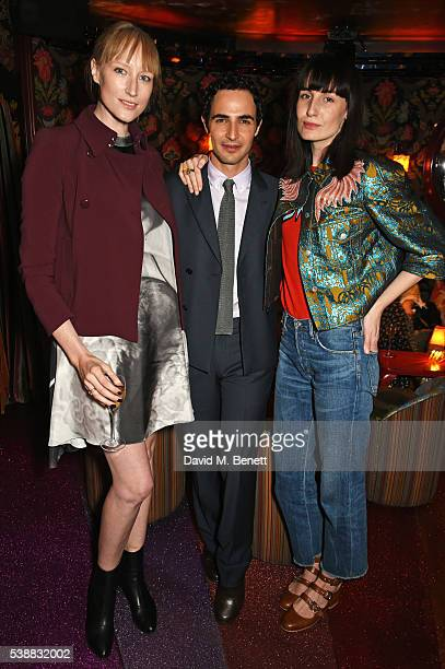 Jade Parfitt Zac Posen and Erin O'Connor attend Zac Posen's dinner to celebrate his first women's collection for Brooks Brothers at Loulou's on June...