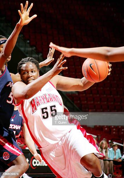 Jade Perry charges for the basket for Maryland Terrapins at Comcast Center on the campus of the University of Maryland in College Park on November 18...