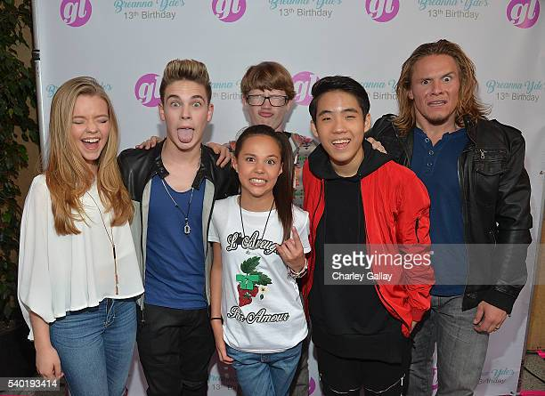 Jade Pettyjohn Ricardo Hurtado Breanna Yde Aidan Miner Lance Lim and Tony Cavalero attend Breanna Yde's 13th Birthday Party at Lucky Strike Lanes at...