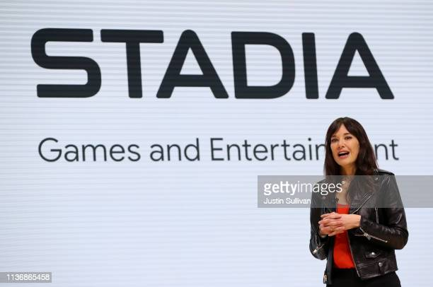 Jade Raymond head of Google's Stadia speaks during the GDC Game Developers Conference on March 19 2019 in San Francisco California Google announced...