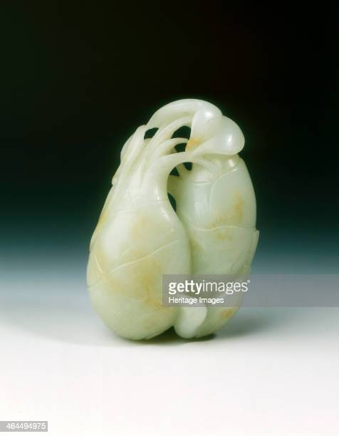 Jade rebus of two arrowroot and a magpie Qing dynasty China 18th century A jade group of two arrowroot with leaves emerging from top and a longtailed...