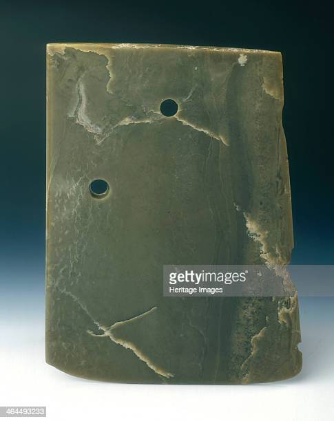 Jade ritual axe blade neolithic Shandong Longshan culture China c2300c1700 BC An almost rectangular ceremonial jade axe blade The thin slab is...