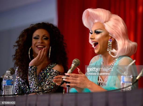 Jade Sotomayor and Farrah Moan speak onstage at 3rd Annual RuPaul's DragCon day 2 at Los Angeles Convention Center on April 30 2017 in Los Angeles...