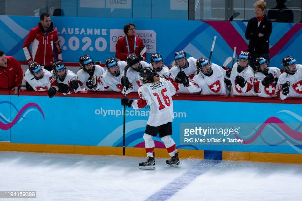 Jade Surdez of Switzerland celebrates her shoot-out goal during Women's 6-Team Tournament Preliminary Round - Group B Game between Czech Republic and...