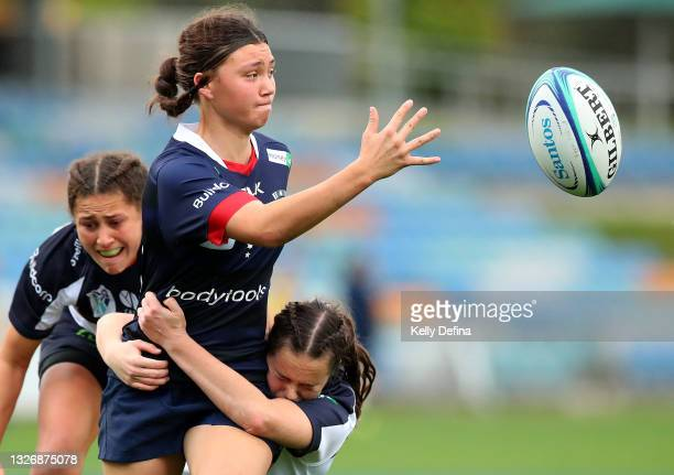 Jade Te Aute of the Rebels passes during the Super W match between the Melbourne Rebels and the ACT Brumbies at Coffs Harbour International Stadium...