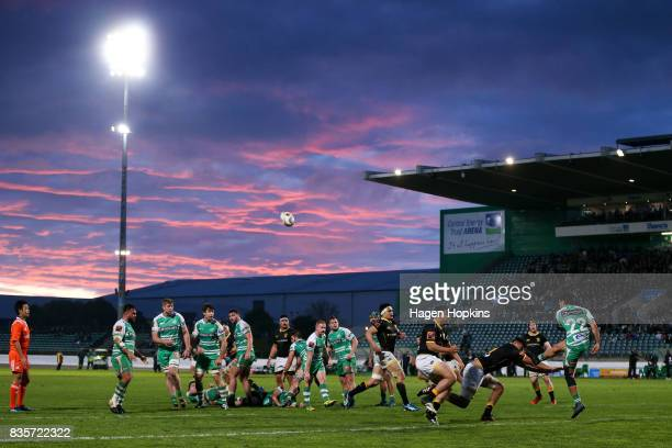 Jade Te Rure of Manawatu kicks during the round one Mitre 10 Cup match between Manawatu and Wellington at Central Energy Trust Arena on August 20,...