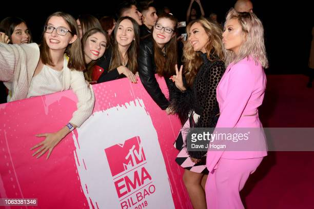 Jade Thirlwall and Jesy Nelson of Little Mix attend the MTV EMAs 2018 at the Bilbao Exhibition Centre on November 04 2018 in Bilbao Spain