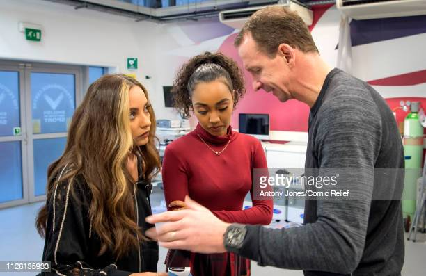 Jade Thirlwall and LeighAnne Pinnock from Little Mix receive instructions from Professor Greg Whyte during altitude training ahead of a trek up Mount...